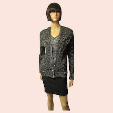 Black and Silver Lurex Cardigan with Pearlized Buttons
