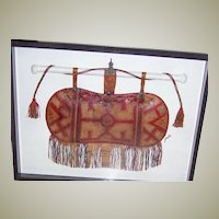 Exceptionally Large, Antique Leather, Tribal African, Camel's Satchel. Framed Under Glass, Museum Quality