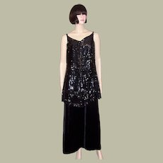 Early 1920's Black Silk Velvet Gown with Sequined and Beaded Tunic Top