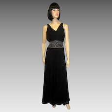 Exquisite 1930's Black Chiffon Gown with Beaded Waist Band