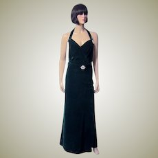 1930's Bias-Cut, Elegant and Sensuous Emerald Green Velvet Gown