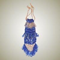 1920's Cobalt Blue and White Glass Beaded Drawstring Handbag-Czechoslovakia