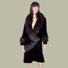 Fabulous 1920's Black Silk Velvet Coat with Fur Collar and Trim
