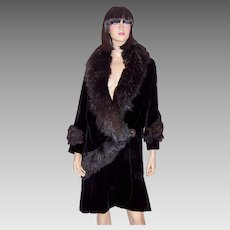Fabulous 1920's Black Silk Velvet Coat with Fur Collar and Trim