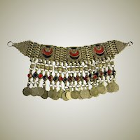 20th Century Impressive Afghani Necklace with Enamel Work and Coins