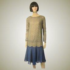 1920's Cobalt Blue Chiffon Dress with Gold Metallic Lace Top