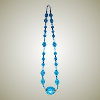 Czechoslovakian Turquoise Glass Necklace with Brass Findings
