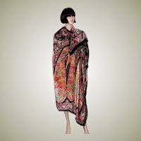 Magnificent 1920's Cut Silk Velvet Shawl in Iridescent Colors
