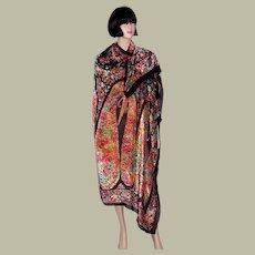 Magnificent 1920's Cut Silk Velvet Shawl in Iridescent Colors