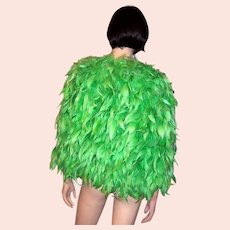 1930's Kelly Green Feathered Cape
