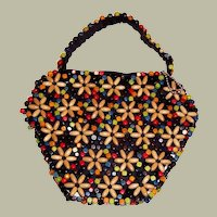 1930's to 1940's Vintage, Czechoslovakian Multi-Colored Wooden Beaded Handbag