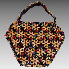 1930's to 1940's Vintage, Czechoslovakian Multi-Colored Wooden Beaded Handbag