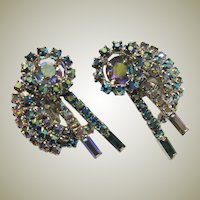 Teal Green and Clear Rhinestone Clip-On Earrings