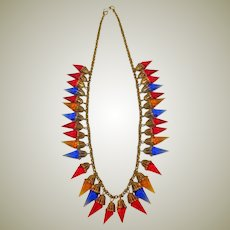 Vintage Metal and Faceted Glass Necklace