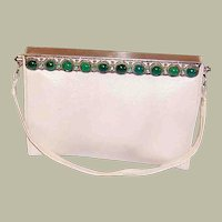 1920's Art Deco Handbag with Chrysoprase and Marcasite Frame