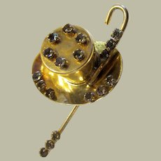 Top Hat and Cane Brooch