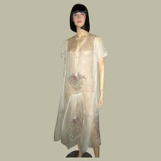 1920's Hungarian White Voile Summertime Embroidered Dress/Gown