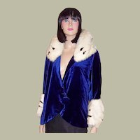 Superb 1920's Royal Blue Silk Velvet Jacket with Ermine Trim