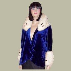 Superb 1920's Royal Blue Silk Velvet Jacket with Ermine Trim
