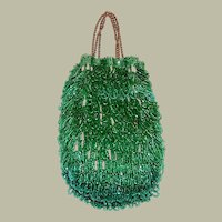 1920's Luscious Kelly Green Beaded Reticule-Czechoslovakia