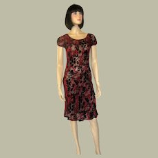 Lolita Lempicka Paris-Devore Velvet Red and Black Dress