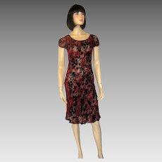 1817bf7944 Vintage 1940s Burn Out Velvet Devore Dress Blue Leaf Pattern Size M ...