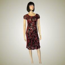Lolita Lempicka Paris-Devore Velvet Red and Black Dress