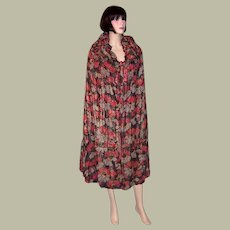 1920's Black, Gray, Marigold, and Raspberry, French Lame Reversible Cloak