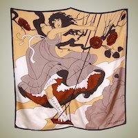 "Large Silk Scarf-Girl Standing on a Swing, Designed by ""Ted Lapidus"""