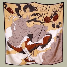 """Large Silk Scarf-Girl Standing on a Swing, Designed by """"Ted Lapidus"""""""