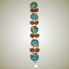 Early Turquoise-Colored Paste and Brass Filigree Bracelet