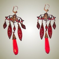 Red and Crimson Poured Glass Molded Czechoslovakian Dangle Earrings