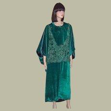1920's Viridian Green Silk Velvet Cocoon, Beaded Coat-A Study in Orientalism