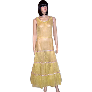 1930's Yellow Embroidered Organdy Spring/Summertime Gown