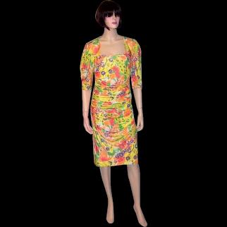 Ungaro Parallele Paris-Yellow Silk Floral Printed Dress with Ruching