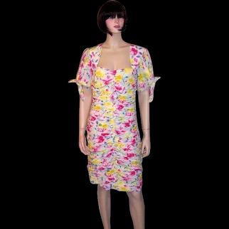 Emanuel Ungaro Parallele Paris-White Floral Printed Dress with Ruching