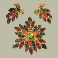 """Unsigned """"Regency"""" Large Brooch and Earring Set in Autumnal Colors"""