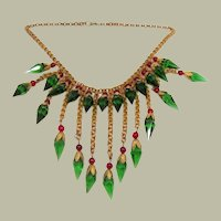 Art Deco Era Vintage Metal, Faceted Glass, and Beaded Bib Necklace