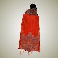 1920's Burnt Sienna Velvet Beaded Opera Cape with Fur Collar