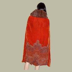1920's Burnt Sienna Velvet Beaded Opera Cape with Fur Collar