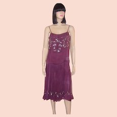 1920's Mauve Silk Chiffon Dress with Silver Beaded Embellishments