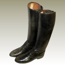 Men's Antique Victorian Black Leather Equestrian Long Boots with Ties/Laces