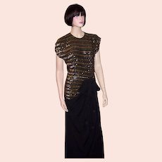 1940's Black Crepe & Gold Sequined Gown