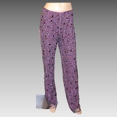 Beaded & Sequined Pants Lined in Orchid Silk Charmeuse
