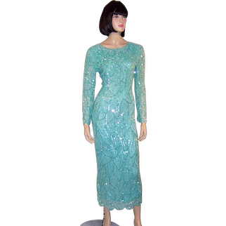 Pale Turquoise Sequined and Beaded Gown