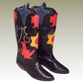 Abstrax-Southwestern-Style Black Boots with Appliques