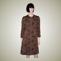 1960's Stylish  and Rich Jacquard-Woven Coat in Umber and Gray