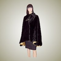 Art Deco Black Velvet Cape with a Rosette Pattern