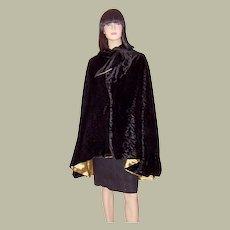 Art Deco Black Velvet Cape with a Rosette Pattern