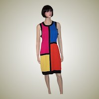 Sleeveless Color-Blocking Shift Dress by La Belle Fashion Inc.
